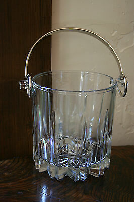Vintage Italy Art Deco Style Pressed Glass Bar Ice Bucket with Handle
