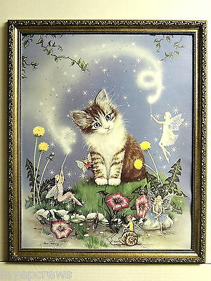 Cat Picture Kitten Fairies Mythical Fantasy Kitty Cat Framed Print 16X20
