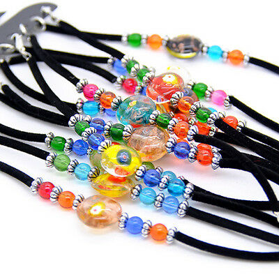 jewelry wholesale 12pcs mix color glass black velvet bracelets gift S-285