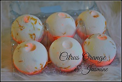 CITRUS ORANGE & JASMINE Aromatherapy Bath Bombs with Coconut Oil GIFT PACK OF 6