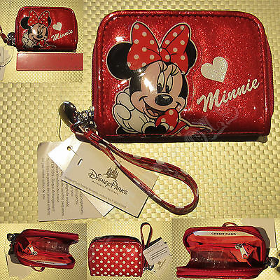 New Authentic Disney Parks Minnie Mouse Signatue Red Soft Small Zip Child Wallet
