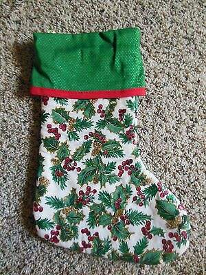 Handmade Christmas Stocking, Holly w/ gold glitter, green top COMPLETELY LINED