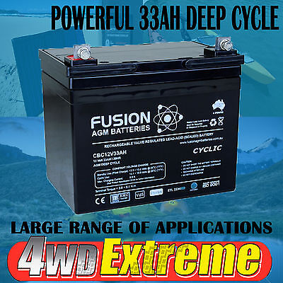 12Volt 33Ah Deep Cycle Agm Battery To Suit Scooter Golf Buggy Cart Sla Solar