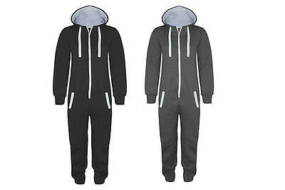 Girls boys Mens Womens New Dance Plain Black All In One Jumpsuit Night Suit 7-XL