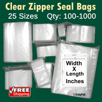 Clear Reclosable Zip Top Plastic Poly 2 Mil Bags Jewelry Zipper Lock Baggies