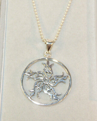 Sterling Silver Star in a Circle Pendant on Bead chain  (5258)