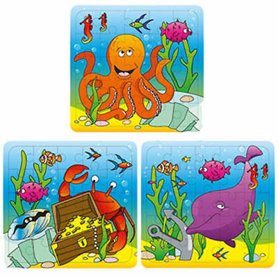 6 Sealife Jigsaw Puzzles - Pinata Toy Loot/Party Bag Fillers Wedding/Kids