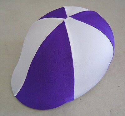 Horse Helmet Cover ALL AUSTRALIAN MADE Purple & White Any size you need