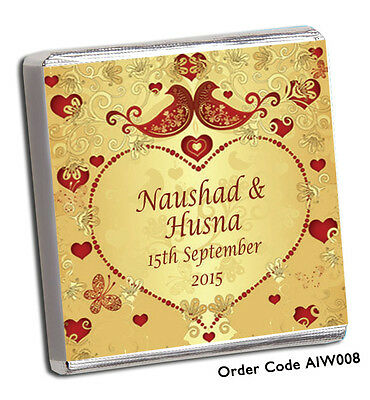 Personalised 100 Indian Themed Wedding Chocolate Favours Free P+P New Designs!!!
