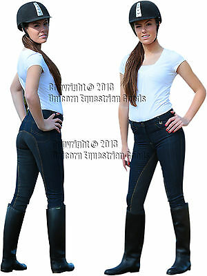 Breeches Ladies Full Seat Riding Jeans 2way Stretch New Black Blue Denim al size