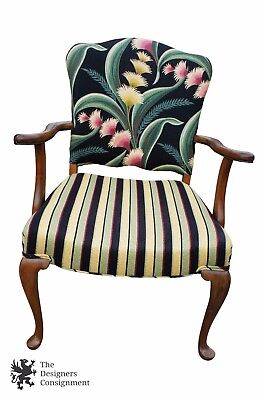 Antique Queen Anne Style Floral Striped Upholstered Occasional Side Arm Chair