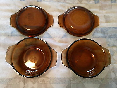 Set of 2 Amber Glass Fire King Covered Individual 12oz Petite Casseroles -F