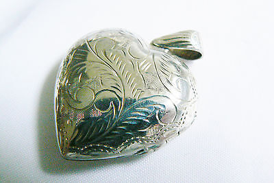Sterling Silver 925 Floral Heart Locket Two Picture Frame Pendant