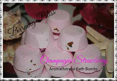 CHAMPAGNE STRAWBERRY Aromatherapy Bath Bombs with Coconut Oil GIFT PACK OF 10