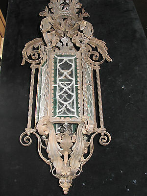 LANTERN WROUGHT IRON ANTIQUE EUROPEAN from the 1910s