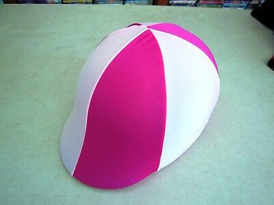 Horse Helmet Cover ALL AUSTRALIAN MADE Hot pink & White Any size you need