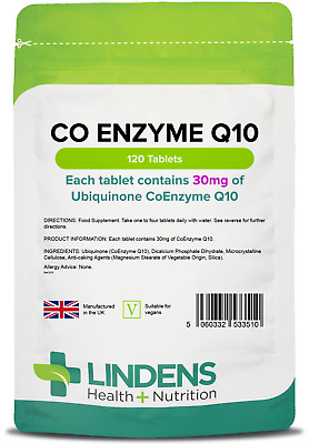 CoEnzyme Q10 (coq10) 30mg Tablets (120 pack) energy heart gums [Lindens 3510]