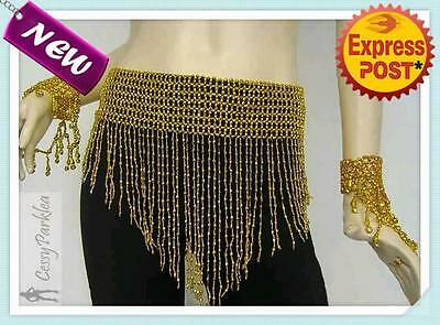 Belly Dance Beaded Fringe Belt Skirt Elastic Waist Dancing Costume Accessories