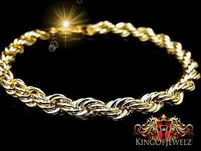 Men's Women's Thick 14k Yellow Gold Finish Rope Twister Bracelet 9 Inch 6mm New