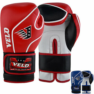 VELO Boxing Gloves MMA Leather Fight Sparring Punch Bag Training Mitts Muay Thai