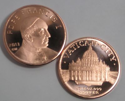2013 POPE FRANCIS I VATICAN CITY 1 oz .999 COPPER ROUND MADE IN USA