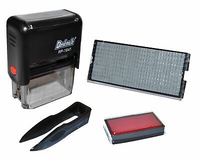 DIY Rubber Stamp Self Inking Kit -Business Name/Address -Letters/Number/Signs