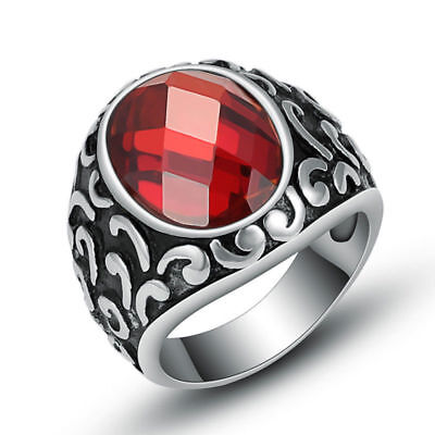 Wholesale Lot 3Pcs Mens Stainless Steel Silver Red Zircon Fashion Rings Jewelry