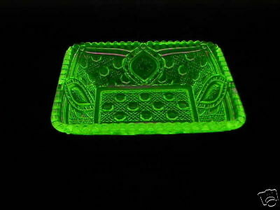 Vaseline Glass Large Quilted Relish Dish