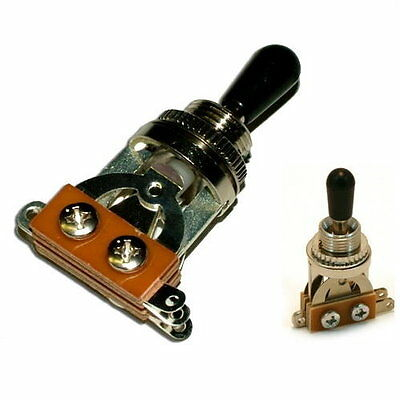 3 WAY SILVER TOGGLE SWITCH for GIBSON Les Paul BLACK Cap - UK seller
