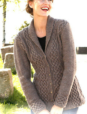 """Womans Ladies Celtic Cardigan Cables/Shawl Collar 36"""" - 50"""" DK Knitting Pattern"""