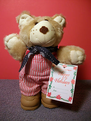 Vintage 1986 Wendy's Dudley Furskin Happy Holiday Plush Bear w/Tags