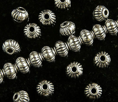 50 x ANTIQUE SILVER~BICONE / MELON~TIBETAN STYLE~SPACER BEADS~5 MM x 4 MM