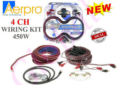Aerpro Bsx408 8 Awg Gauge 4-Channel 450W Amplifier Wiring Installation Kit Amp