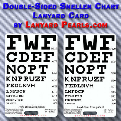 Pocket Snellen Chart - Doubled sided - visual acuity chart - Medical, nursing