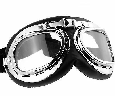Motorcycle Scooter Goggle Glasses Pilot Style Helmet Goggles Vintage Clear Lens