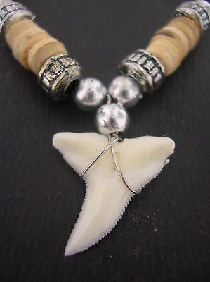 Tiger Shark tooth pendant cream wood and metallic surf beads cord necklace