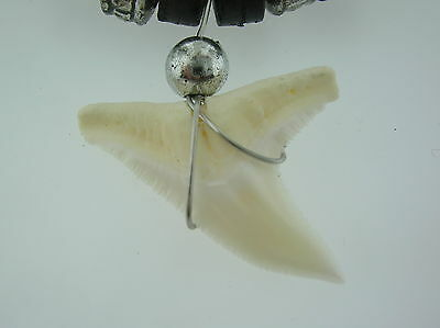 Tiger Shark tooth pendant black & metallic surf beads & necklace surfer beach