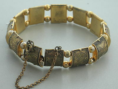 Art Deco Damascene Ornate Design Hinged Bracelet With Safety Chain 1920