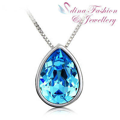 18K White Gold Plated Made With Swarovski Crystal Teardrop Ocean Blue Necklace