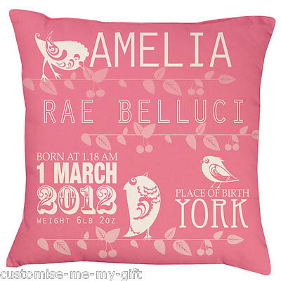 Baby Birds Monochrome keepsake | Personalised Cushion  | Boy | Pink