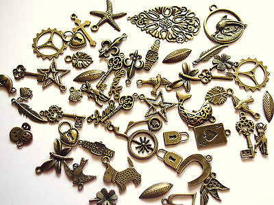 JOB LOT of 50 Mixed Antique Bronze Coloured Charms / Pendants STEAMPUNK Cogs