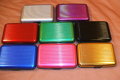 DELUXE ALUMA STYLE ALUMINUM WALLET RFID PROTECTION USA SELLER 8 COLORS