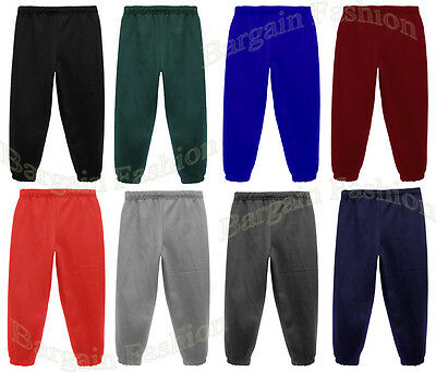 JOGGING BOTTOMS - Kids Warm Fleece Style Plain Joggers Bottom Pants 1 - 15 Years