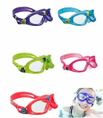 AQUA SPHERE CHILDS KIDS SEAL 2 SWIMMING GOGGLES MASK Blue Lime Red Pink Violet