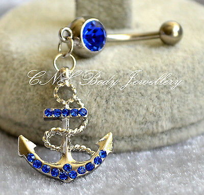 Unique 316L Surgical Steel Dangling Blue Crystal Anchor Navel Bar Belly Ring