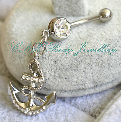 Unique 316L Surgical Steel Dangling Clear Crystal Anchor Navel Bar Belly Ring