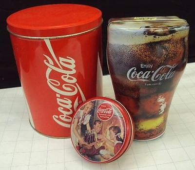 SET OF THREE (3) COCA COLA METAL TIN COLLECTIBLES COKE CAN COKE IN GLASS & ROUND
