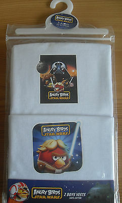 2PK Boys Star Wars ANGRY BIRDS Vests Underwear 3 4 5 6 7 8 Years NEW Pack of 2