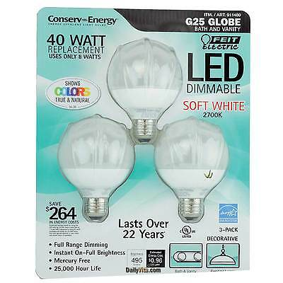 3x Feit LED Dimmable G25 Decorative Bulb 40w Replacement Uses only 8 watts1 Pack