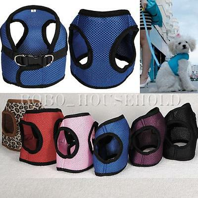 Soft Mesh Fabric Dog Puppy Pet Adjustable Harness Lead Leash with Clip NEW UK
